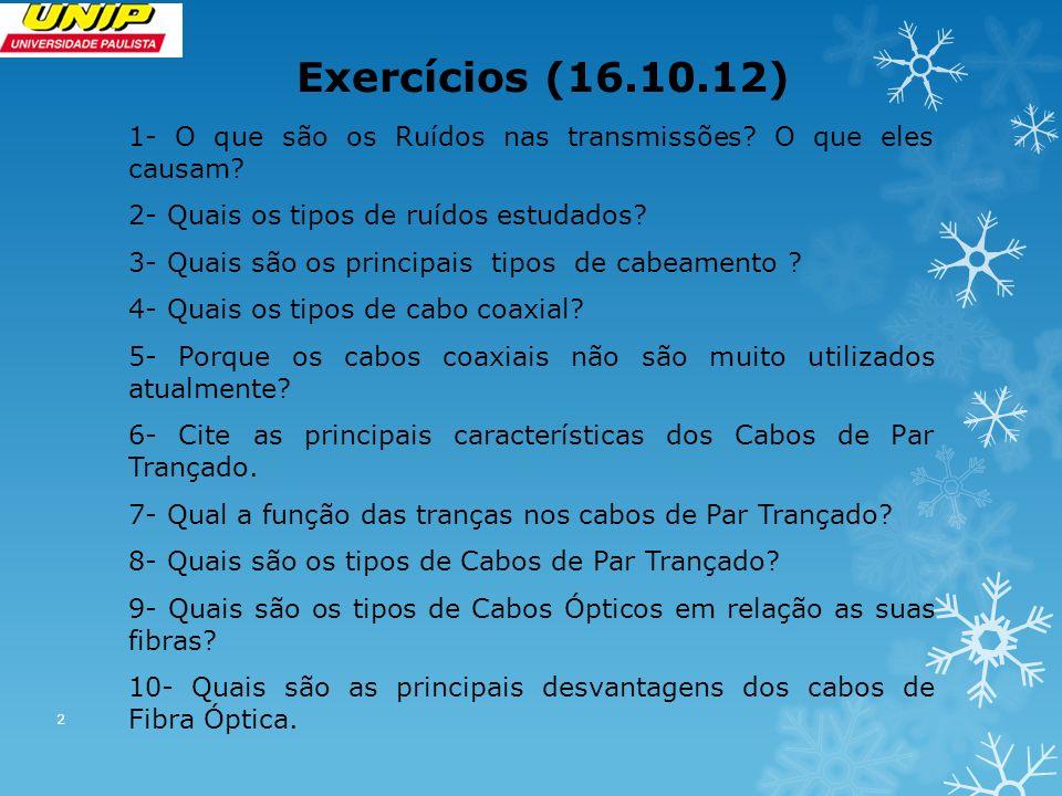 Exercícios (16.10.12) 1- O que são os Ruídos nas transmissões.