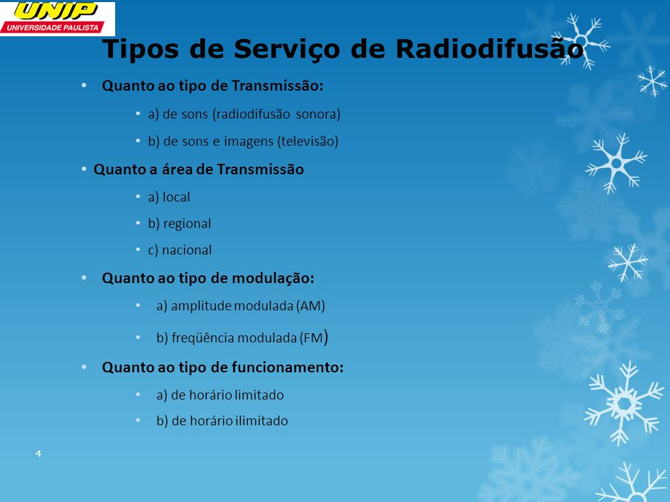 Tipos de Serviço de Radiodifusão Quanto ao tipo de Transmissão: a) de sons (radiodifusão sonora) b) de sons e imagens (televisão) Quanto a área de Transmissão a) local b) regional c) nacional Quanto ao tipo de modulação: a) amplitude modulada (AM) b) freqüência modulada (FM ) Quanto ao tipo de funcionamento: a) de horário limitado b) de horário ilimitado 4