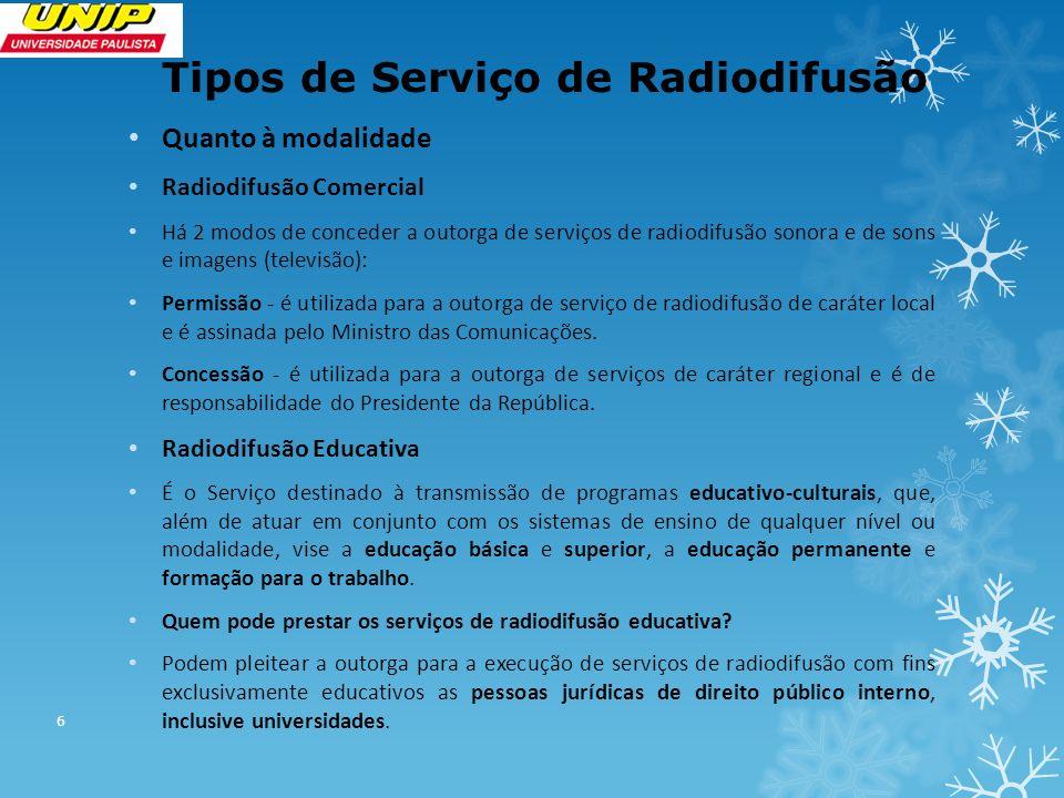 Tipos de Serviço de Radiodifusão Quanto à modalidade Radiodifusão Comercial Há 2 modos de conceder a outorga de serviços de radiodifusão sonora e de s
