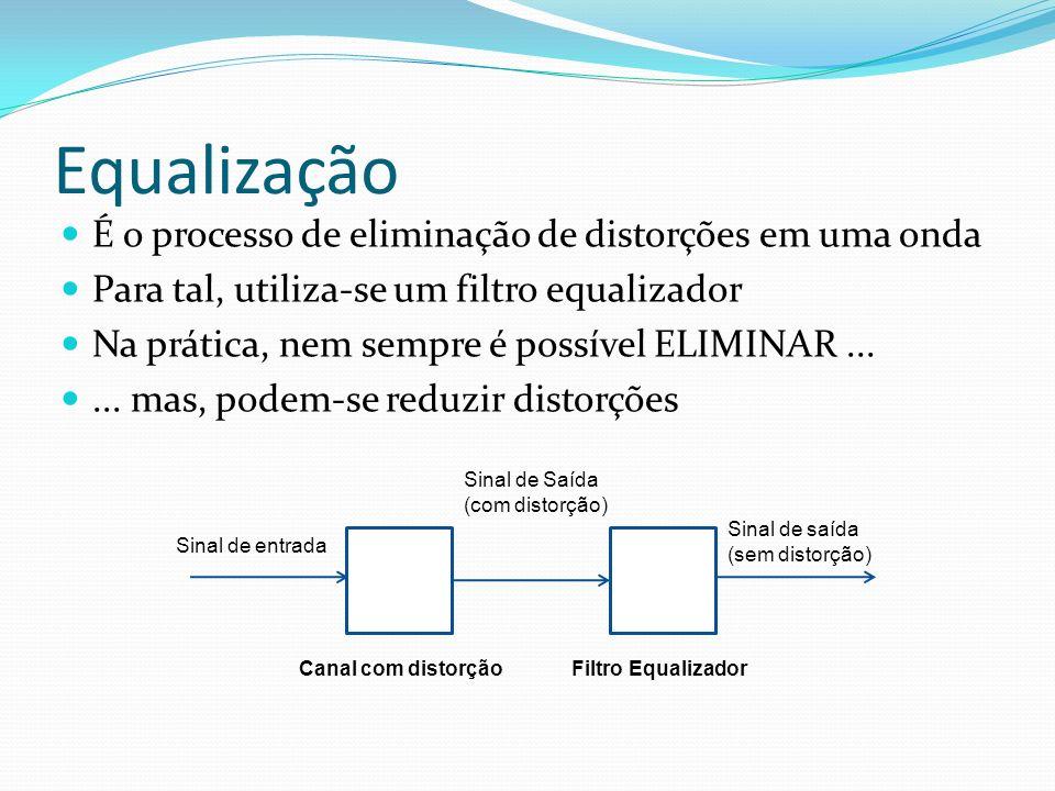 Equalização É o processo de eliminação de distorções em uma onda Para tal, utiliza-se um filtro equalizador Na prática, nem sempre é possível ELIMINAR