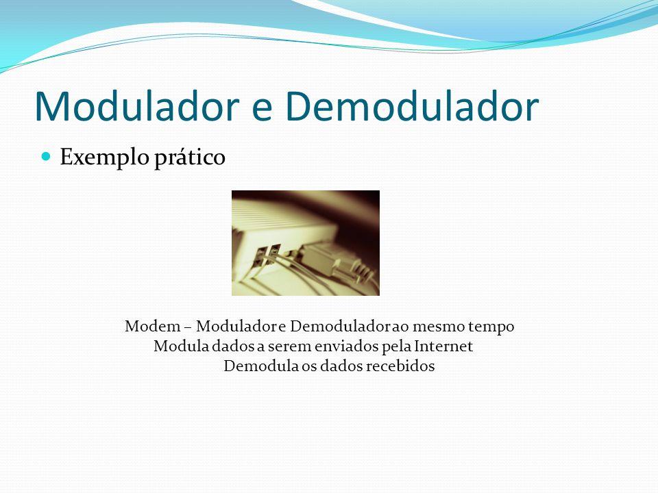 Modulador e Demodulador Exemplo prático Modem – Modulador e Demodulador ao mesmo tempo Modula dados a serem enviados pela Internet Demodula os dados r