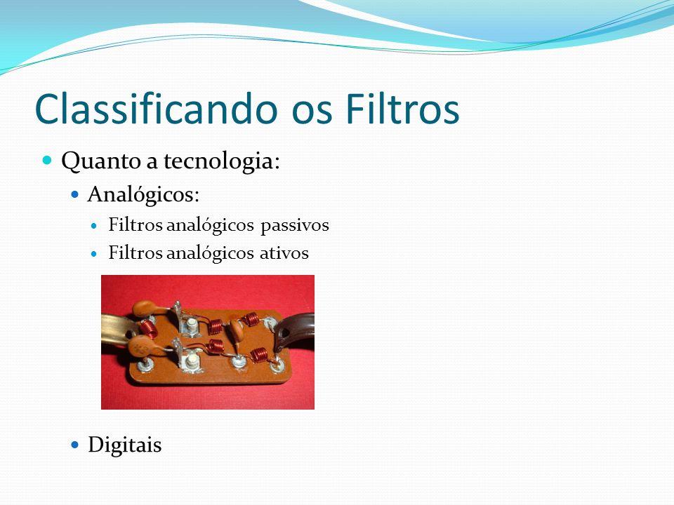 Classificando os Filtros Quanto a tecnologia: Analógicos: Filtros analógicos passivos Filtros analógicos ativos Digitais