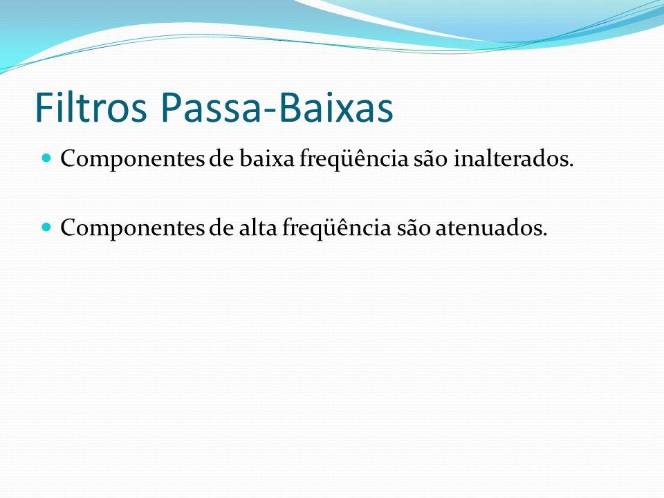 Filtros Passa-Baixas Componentes de baixa freqüência são inalterados. Componentes de alta freqüência são atenuados.