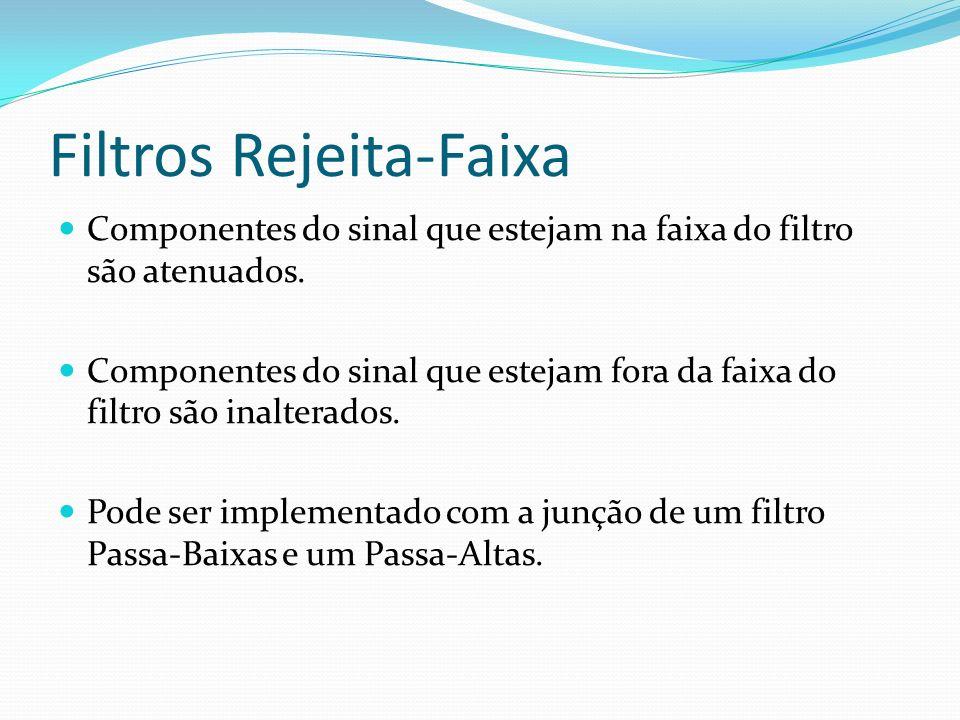 Filtros Rejeita-Faixa Componentes do sinal que estejam na faixa do filtro são atenuados. Componentes do sinal que estejam fora da faixa do filtro são