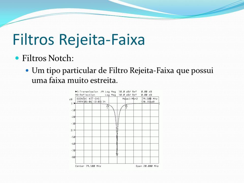 Filtros Rejeita-Faixa Filtros Notch: Um tipo particular de Filtro Rejeita-Faixa que possui uma faixa muito estreita.
