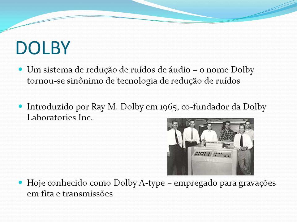 DOLBY Um sistema de redução de ruídos de áudio – o nome Dolby tornou-se sinônimo de tecnologia de redução de ruídos Introduzido por Ray M. Dolby em 19