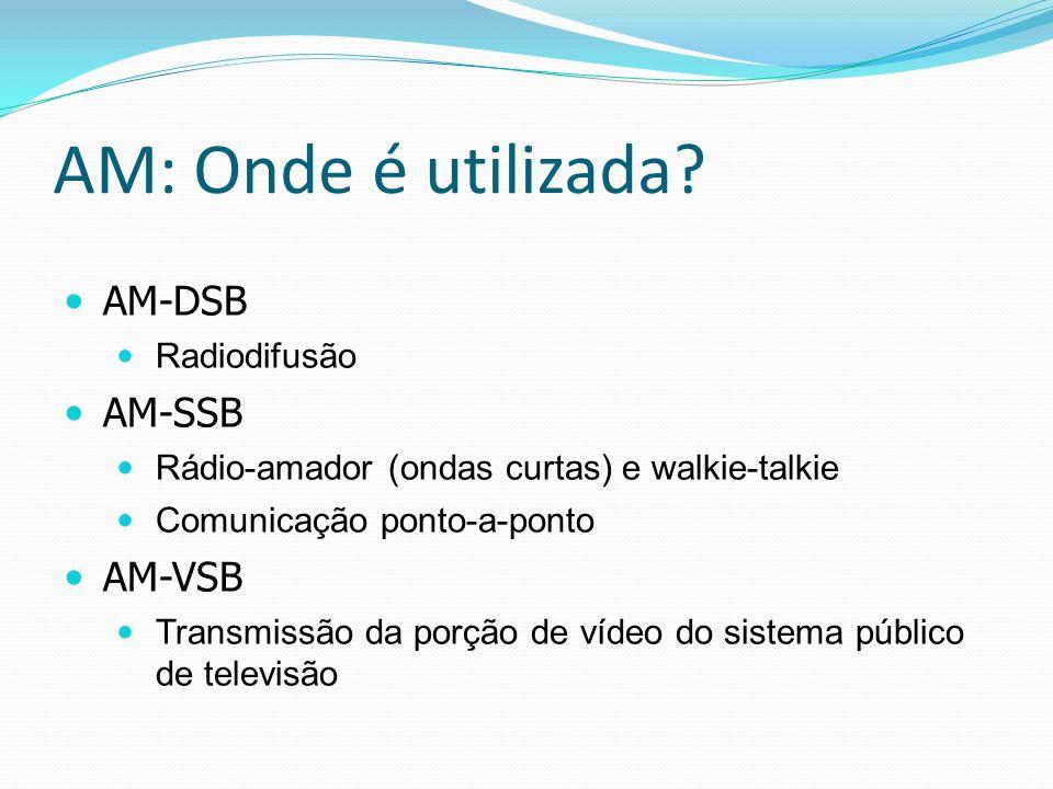 AM: Onde é utilizada? AM-DSB Radiodifusão AM-SSB Rádio-amador (ondas curtas) e walkie-talkie Comunicação ponto-a-ponto AM-VSB Transmissão da porção de