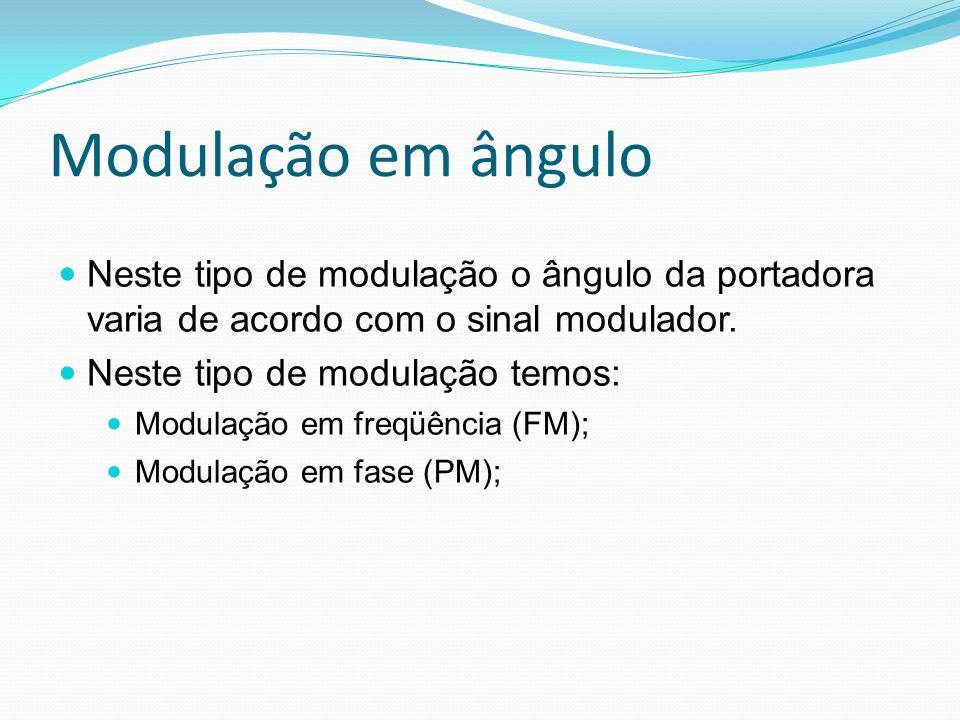 Modulação em ângulo Neste tipo de modulação o ângulo da portadora varia de acordo com o sinal modulador. Neste tipo de modulação temos: Modulação em f