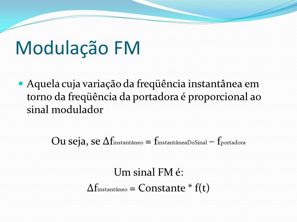 Modulação FM Aquela cuja variação da freqüência instantânea em torno da freqüência da portadora é proporcional ao sinal modulador Ou seja, se Δf insta