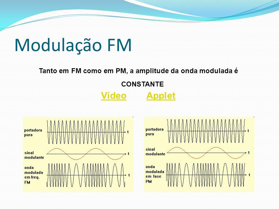 Modulação FM Tanto em FM como em PM, a amplitude da onda modulada é CONSTANTE VídeoVídeo AppletApplet