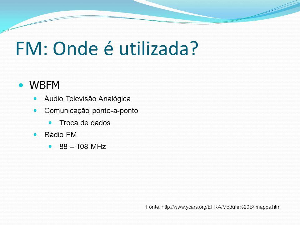 FM: Onde é utilizada? WBFM Áudio Televisão Analógica Comunicação ponto-a-ponto Troca de dados Rádio FM 88 – 108 MHz Fonte: http://www.ycars.org/EFRA/M