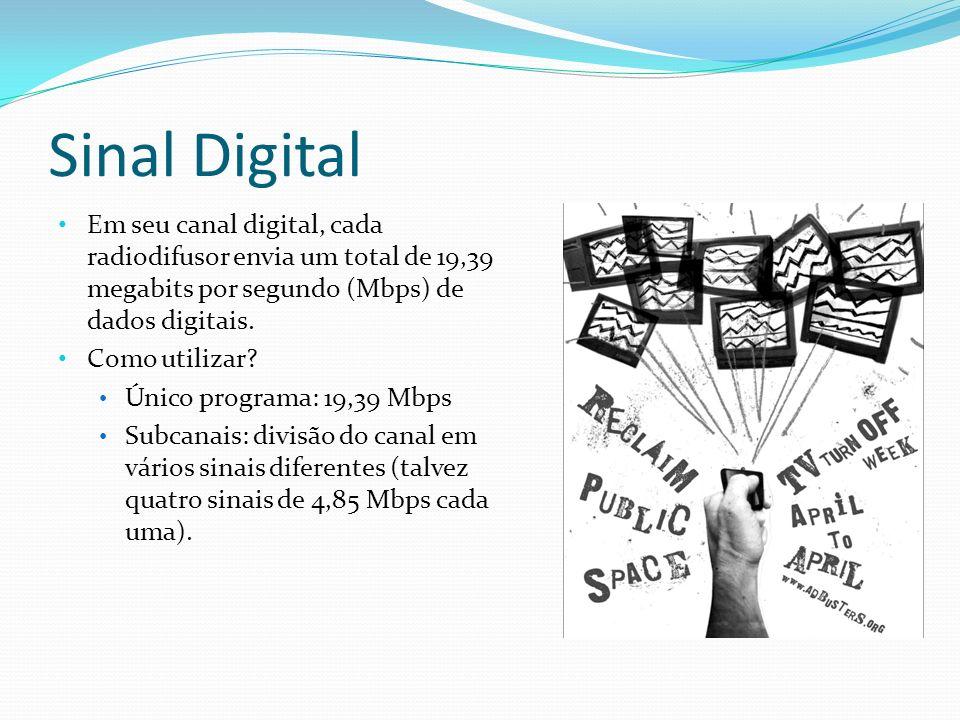 Sinal Digital Em seu canal digital, cada radiodifusor envia um total de 19,39 megabits por segundo (Mbps) de dados digitais. Como utilizar? Único prog