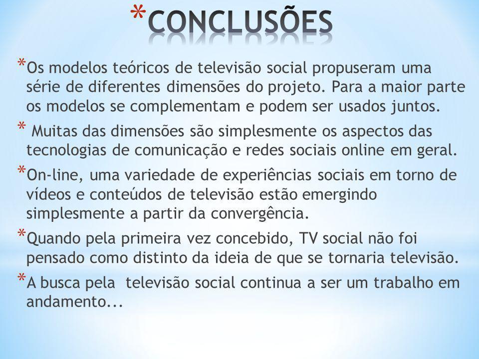 * Os modelos teóricos de televisão social propuseram uma série de diferentes dimensões do projeto. Para a maior parte os modelos se complementam e pod