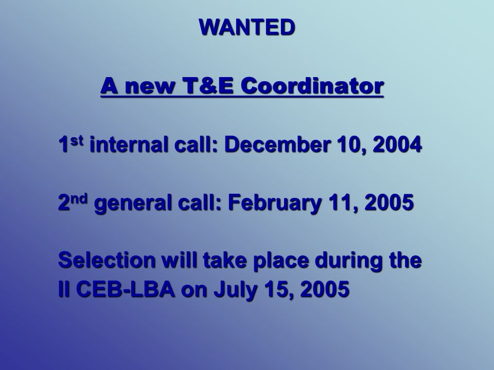 WANTED A new T&E Coordinator A new T&E Coordinator 1 st internal call: December 10, 2004 2 nd general call: February 11, 2005 Selection will take place during the II CEB-LBA on July 15, 2005