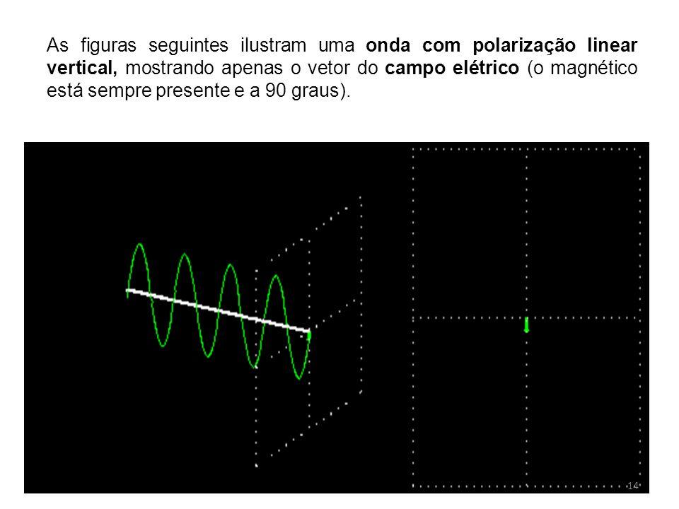 As figuras seguintes ilustram uma onda com polarização linear vertical, mostrando apenas o vetor do campo elétrico (o magnético está sempre presente e