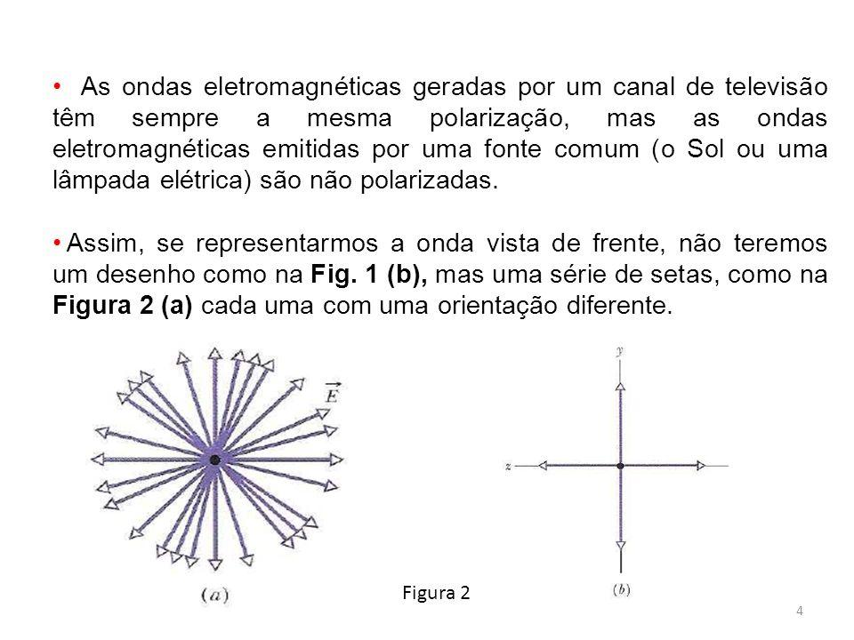 4 As ondas eletromagnéticas geradas por um canal de televisão têm sempre a mesma polarização, mas as ondas eletromagnéticas emitidas por uma fonte com