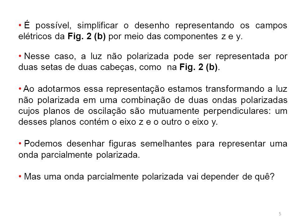 5 É possível, simplificar o desenho representando os campos elétricos da Fig. 2 (b) por meio das componentes z e y. Nesse caso, a luz não polarizada p