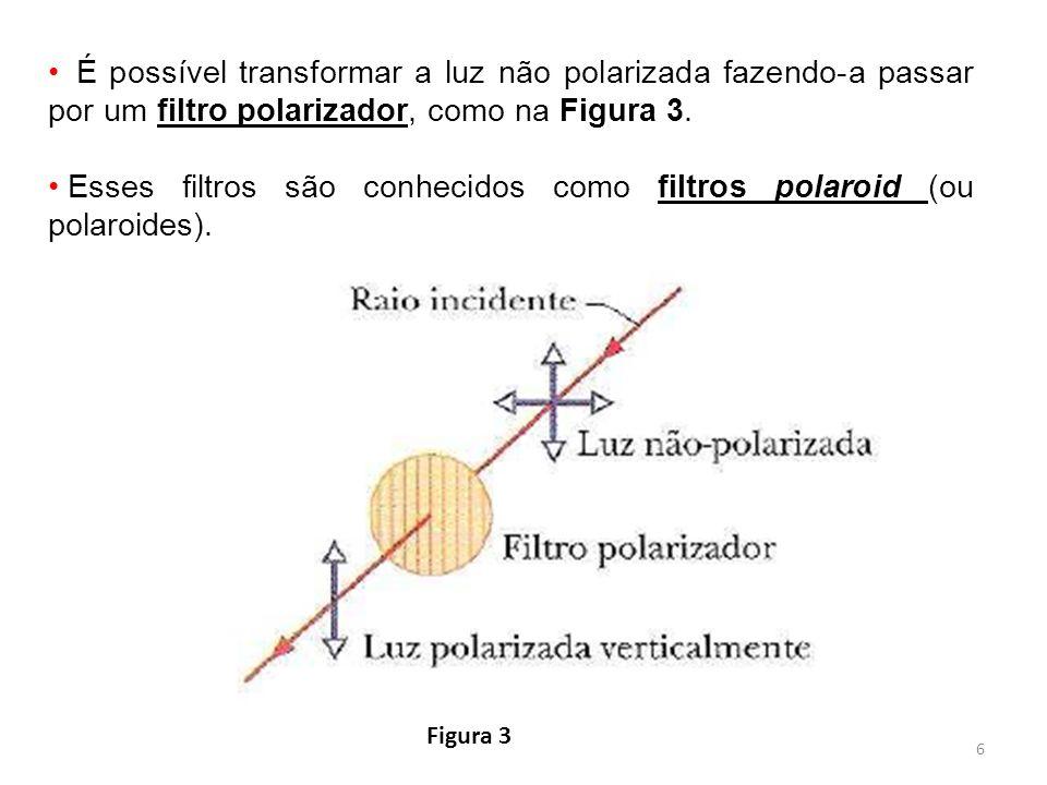6 É possível transformar a luz não polarizada fazendo-a passar por um filtro polarizador, como na Figura 3. Esses filtros são conhecidos como filtros