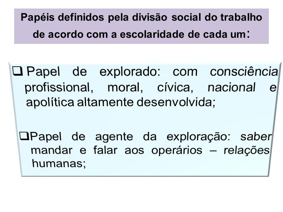 Papéis definidos pela divisão social do trabalho de acordo com a escolaridade de cada um :