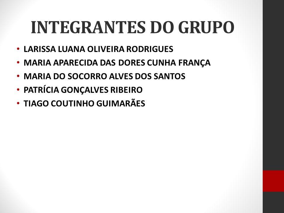 INTEGRANTES DO GRUPO LARISSA LUANA OLIVEIRA RODRIGUES MARIA APARECIDA DAS DORES CUNHA FRANÇA MARIA DO SOCORRO ALVES DOS SANTOS PATRÍCIA GONÇALVES RIBEIRO TIAGO COUTINHO GUIMARÃES