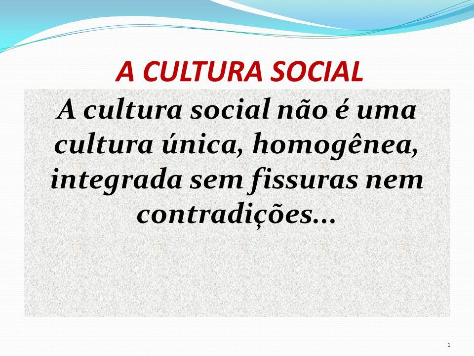 A CULTURA SOCIAL A cultura social não é uma cultura única, homogênea, integrada sem fissuras nem contradições...