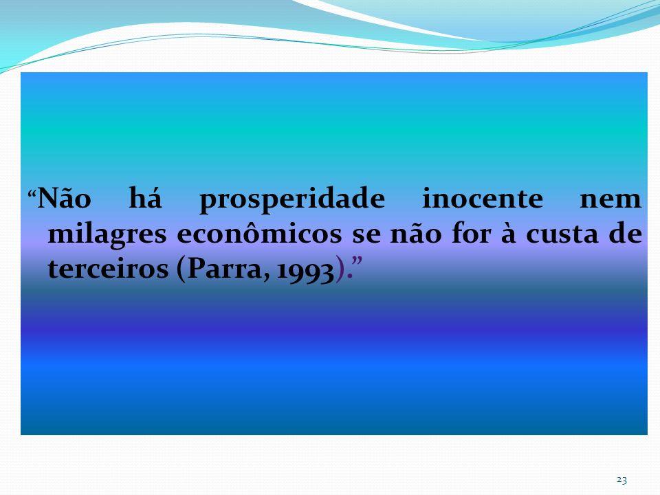 Não há prosperidade inocente nem milagres econômicos se não for à custa de terceiros (Parra, 1993).