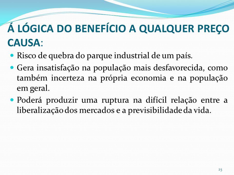 Á LÓGICA DO BENEFÍCIO A QUALQUER PREÇO CAUSA: Risco de quebra do parque industrial de um país.