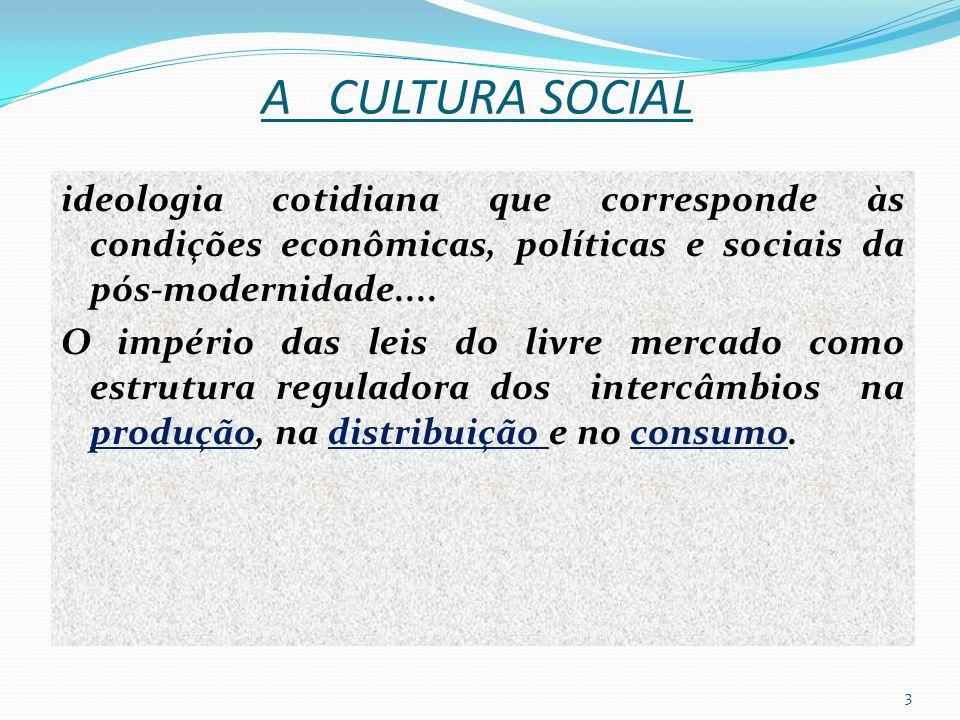 A CULTURA SOCIAL ideologia cotidiana que corresponde às condições econômicas, políticas e sociais da pós-modernidade....