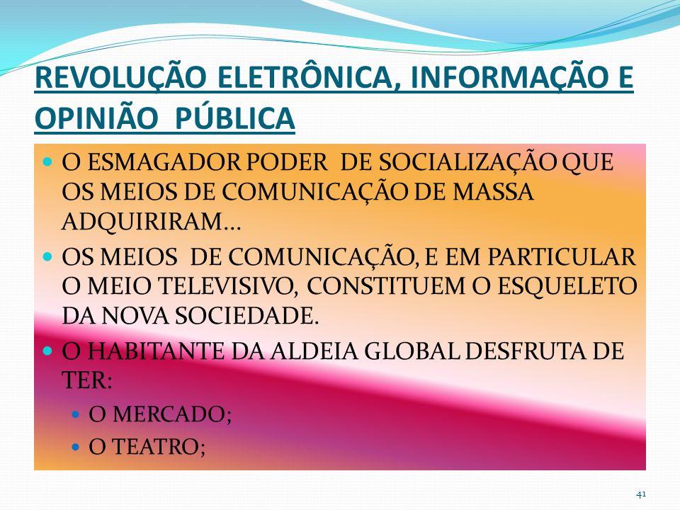 REVOLUÇÃO ELETRÔNICA, INFORMAÇÃO E OPINIÃO PÚBLICA O ESMAGADOR PODER DE SOCIALIZAÇÃO QUE OS MEIOS DE COMUNICAÇÃO DE MASSA ADQUIRIRAM...