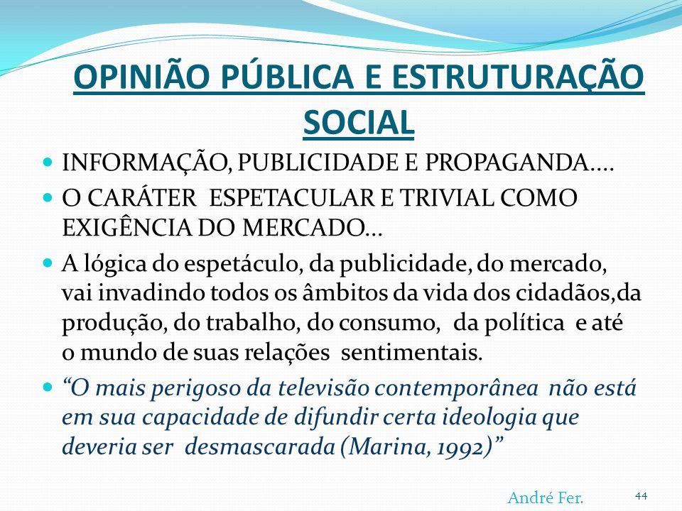 OPINIÃO PÚBLICA E ESTRUTURAÇÃO SOCIAL INFORMAÇÃO, PUBLICIDADE E PROPAGANDA....