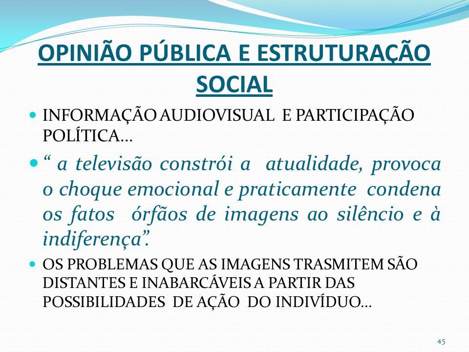 OPINIÃO PÚBLICA E ESTRUTURAÇÃO SOCIAL INFORMAÇÃO AUDIOVISUAL E PARTICIPAÇÃO POLÍTICA...