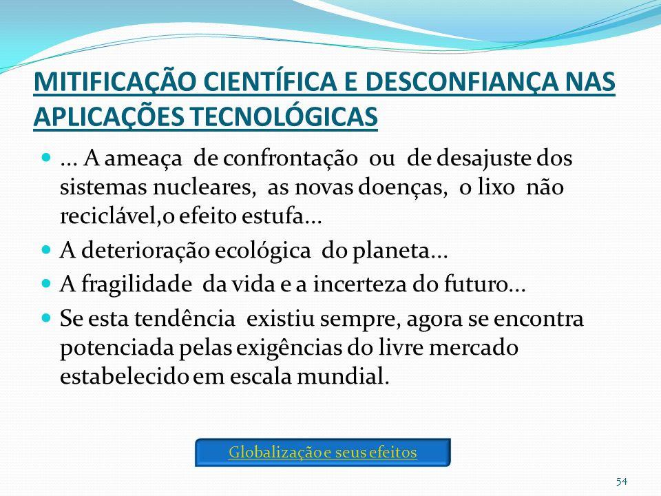 MITIFICAÇÃO CIENTÍFICA E DESCONFIANÇA NAS APLICAÇÕES TECNOLÓGICAS...