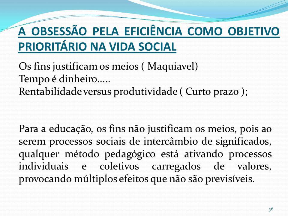 A OBSESSÃO PELA EFICIÊNCIA COMO OBJETIVO PRIORITÁRIO NA VIDA SOCIAL Os fins justificam os meios ( Maquiavel) Tempo é dinheiro.....