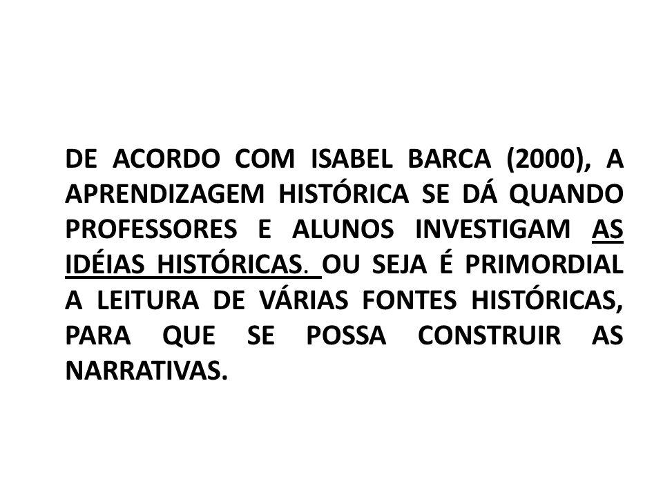 DE ACORDO COM ISABEL BARCA (2000), A APRENDIZAGEM HISTÓRICA SE DÁ QUANDO PROFESSORES E ALUNOS INVESTIGAM AS IDÉIAS HISTÓRICAS. OU SEJA É PRIMORDIAL A
