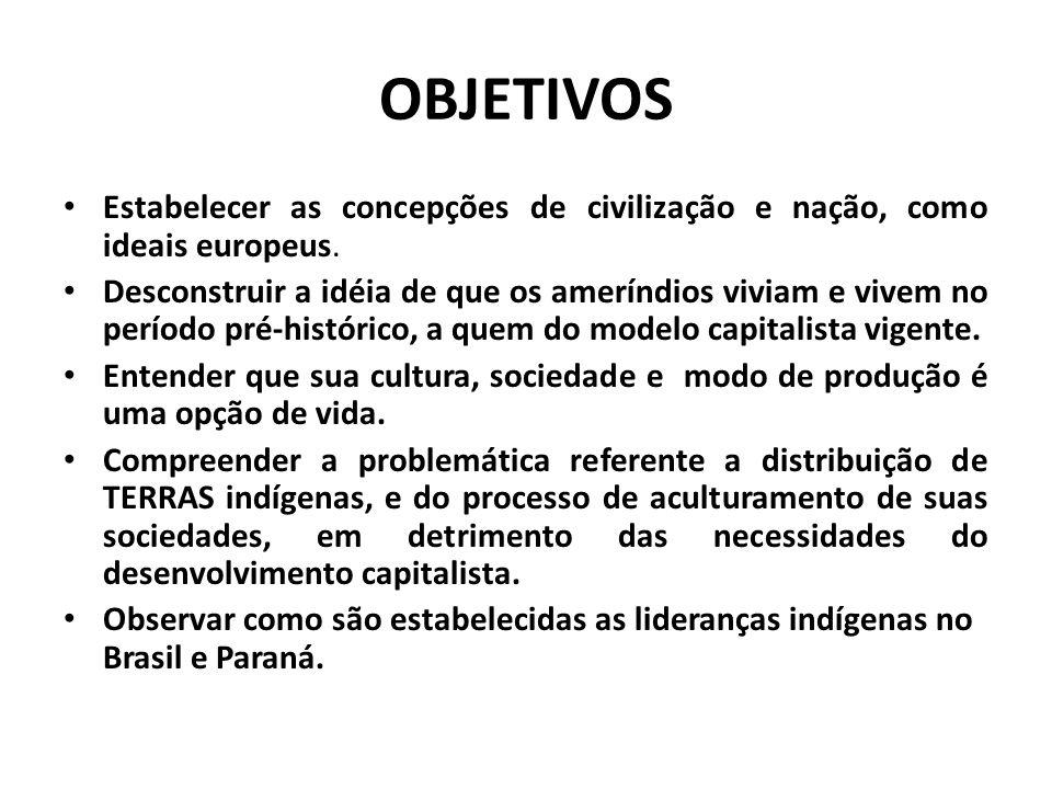 OBJETIVOS Estabelecer as concepções de civilização e nação, como ideais europeus. Desconstruir a idéia de que os ameríndios viviam e vivem no período
