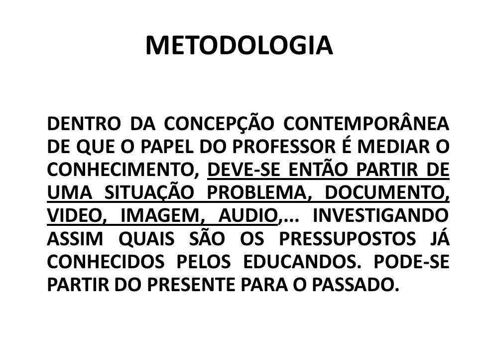 METODOLOGIA DENTRO DA CONCEPÇÃO CONTEMPORÂNEA DE QUE O PAPEL DO PROFESSOR É MEDIAR O CONHECIMENTO, DEVE-SE ENTÃO PARTIR DE UMA SITUAÇÃO PROBLEMA, DOCUMENTO, VIDEO, IMAGEM, AUDIO,...