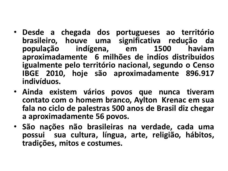 Desde a chegada dos portugueses ao território brasileiro, houve uma significativa redução da população indígena, em 1500 haviam aproximadamente 6 milhões de indíos distribuidos igualmente pelo território nacional, segundo o Censo IBGE 2010, hoje são aproximadamente 896.917 indivíduos.