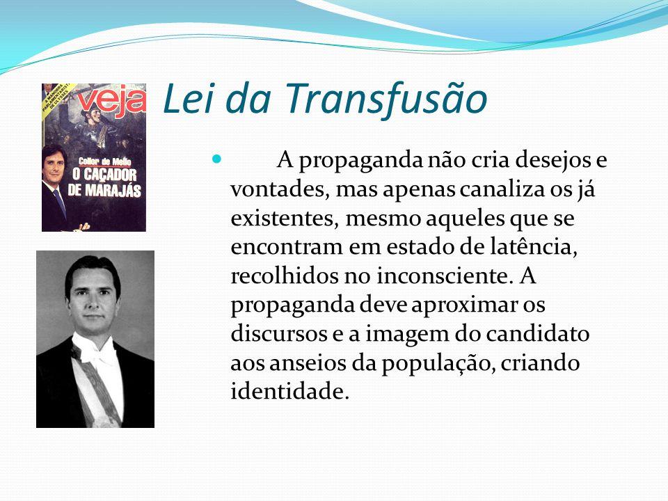 Lei da Transfusão A propaganda não cria desejos e vontades, mas apenas canaliza os já existentes, mesmo aqueles que se encontram em estado de latência, recolhidos no inconsciente.