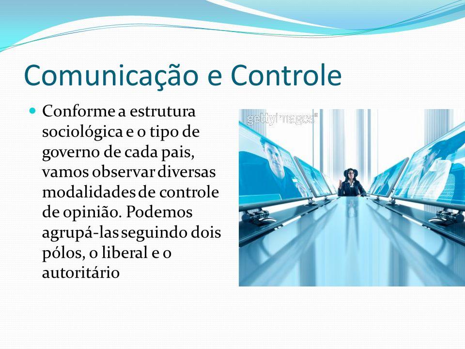 Comunicação e Controle Conforme a estrutura sociológica e o tipo de governo de cada pais, vamos observar diversas modalidades de controle de opinião.