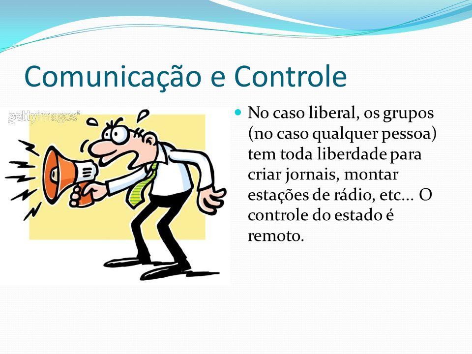 Comunicação e Controle No caso liberal, os grupos (no caso qualquer pessoa) tem toda liberdade para criar jornais, montar estações de rádio, etc...