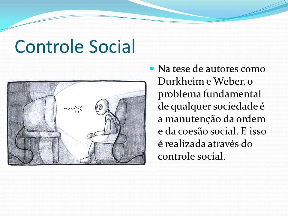 Controle Social Na tese de autores como Durkheim e Weber, o problema fundamental de qualquer sociedade é a manutenção da ordem e da coesão social.