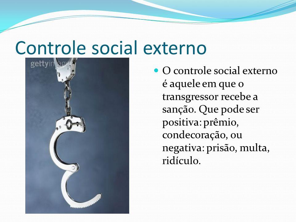 Controle social externo O controle social externo é aquele em que o transgressor recebe a sanção.