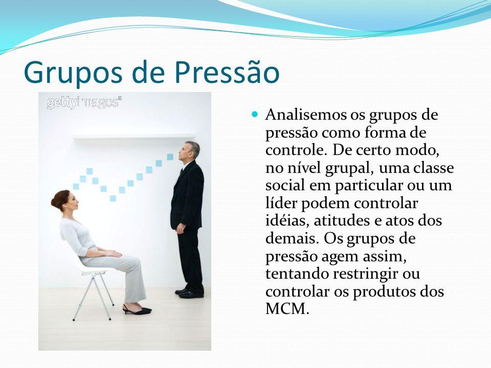 Grupos de Pressão Analisemos os grupos de pressão como forma de controle.