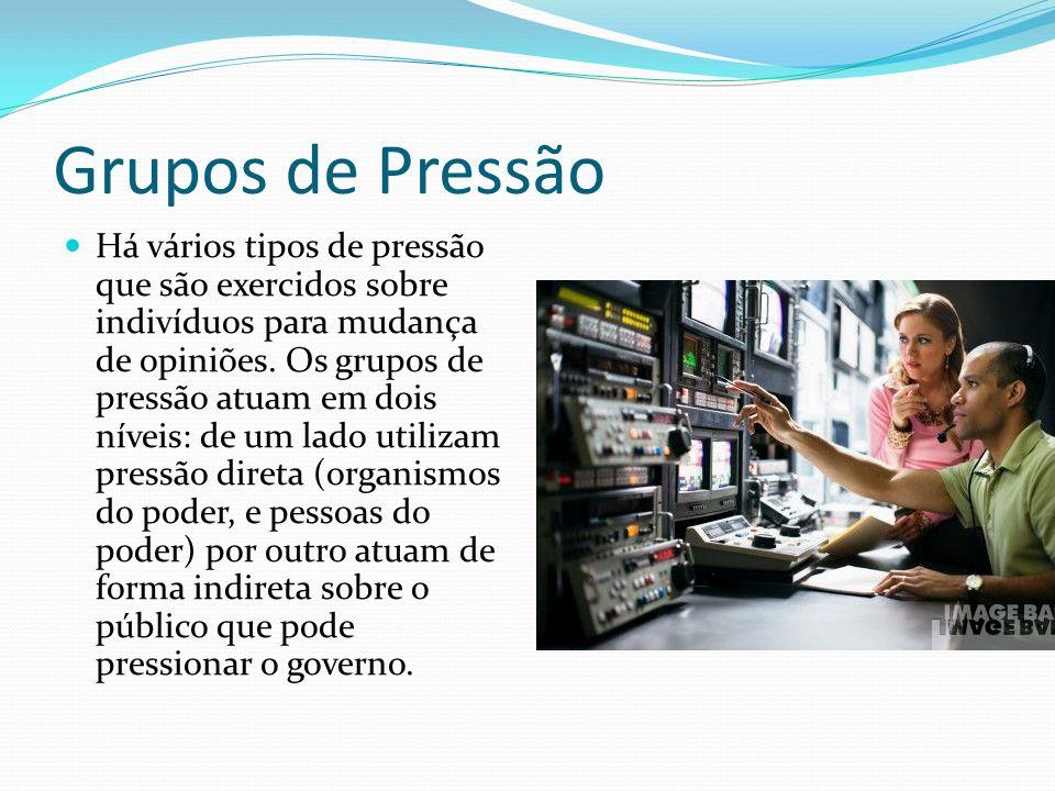 Grupos de Pressão Há vários tipos de pressão que são exercidos sobre indivíduos para mudança de opiniões.