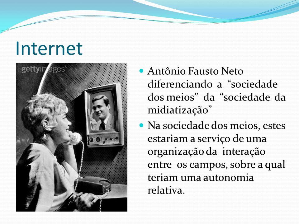 Internet Antônio Fausto Neto diferenciando a sociedade dos meios da sociedade da midiatização Na sociedade dos meios, estes estariam a serviço de uma organização da interação entre os campos, sobre a qual teriam uma autonomia relativa.