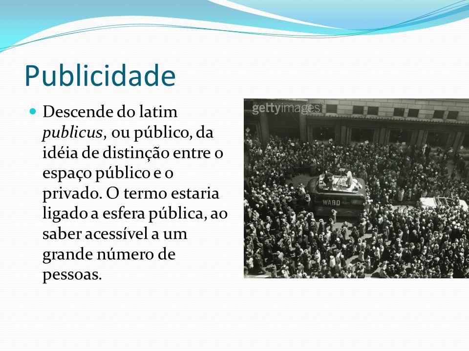 Publicidade Descende do latim publicus, ou público, da idéia de distinção entre o espaço público e o privado.