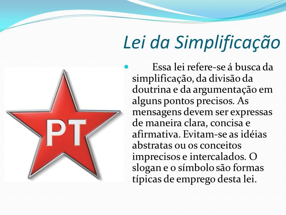 Lei da Simplificação Essa lei refere-se á busca da simplificação, da divisão da doutrina e da argumentação em alguns pontos precisos.