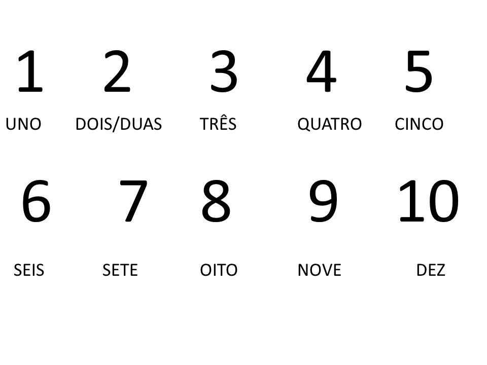 1 2345 UNO DOIS/DUASTRÊSQUATROCINCO 6 78 910 SEISSETEOITONOVE DEZ