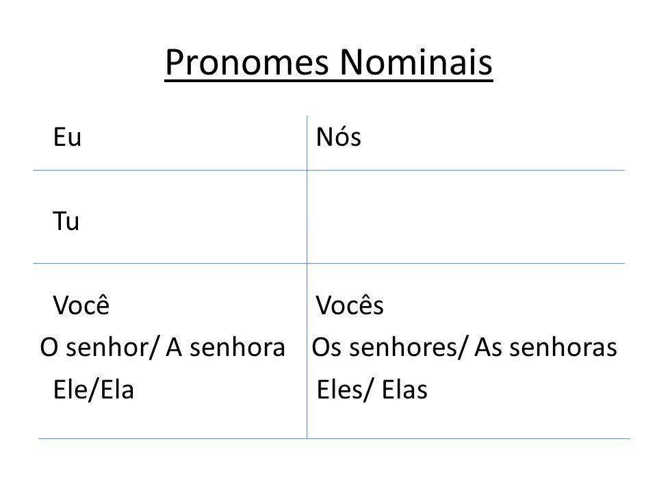 Pronomes Nominais Eu Nós Tu Você Vocês O senhor/ A senhora Os senhores/ As senhoras Ele/Ela Eles/ Elas