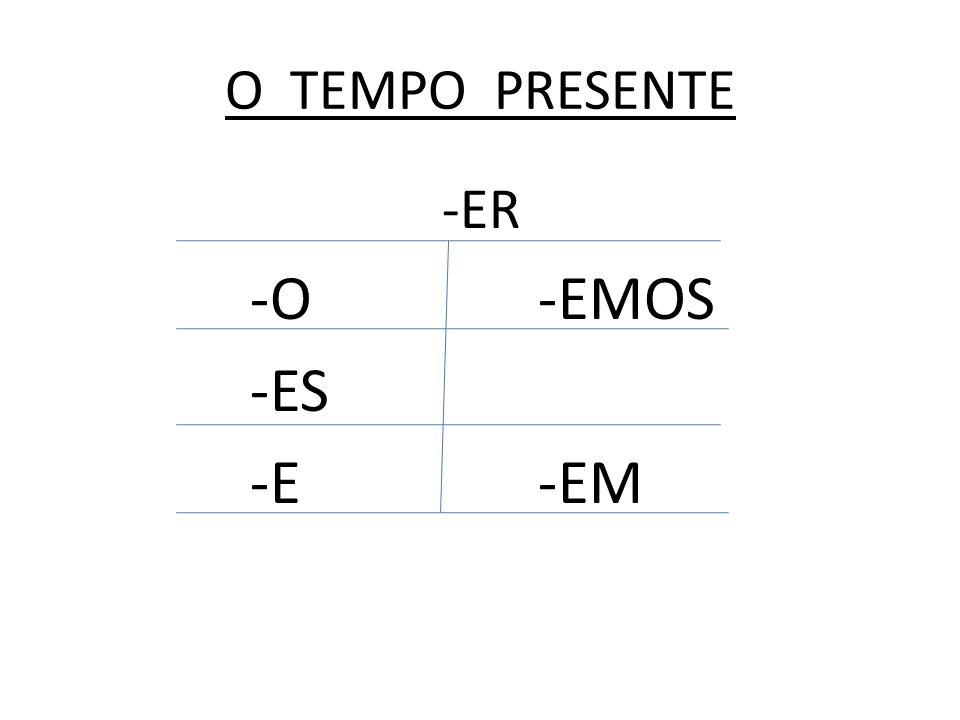 O TEMPO PRESENTE -ER -O-EMOS -ES -E-EM